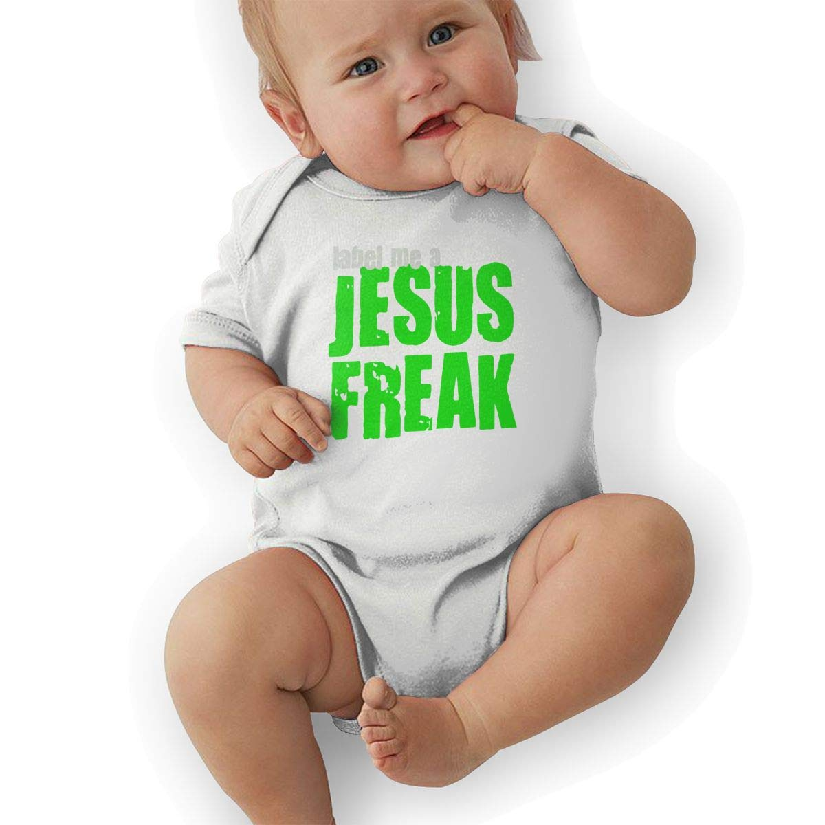 BONLOR Label Me A Jesus Freak Logo Baby Rompers One Piece Jumpsuits Summer Outfits Clothes White
