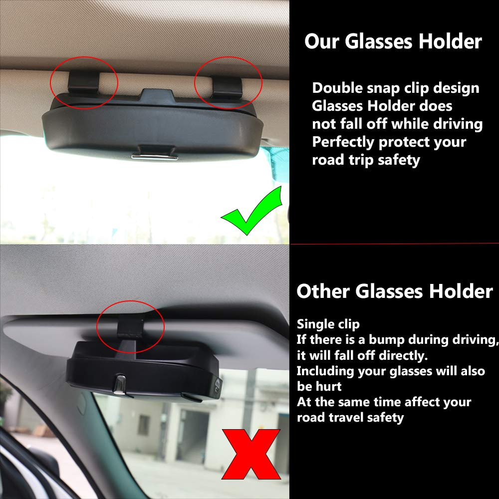 Automotive Accessories ABS 1Pcs Apply to All Car Models HOLDCY Car Glasses Holder Sun Visor Clip Gray Eye Sunglasses Storage Holder Box
