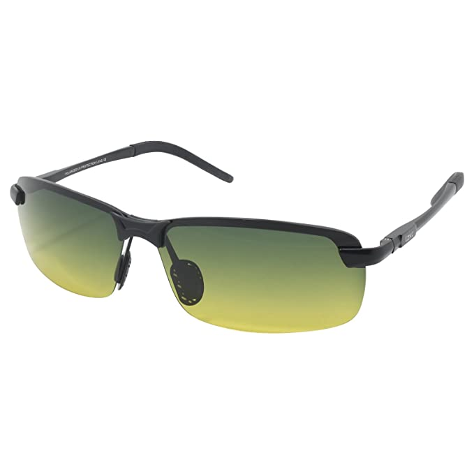 3a5619b6080 LZXC Men s Driving Polarized Sunglasses with Adjustable AL-MG Black Frame  Day and Night Vision