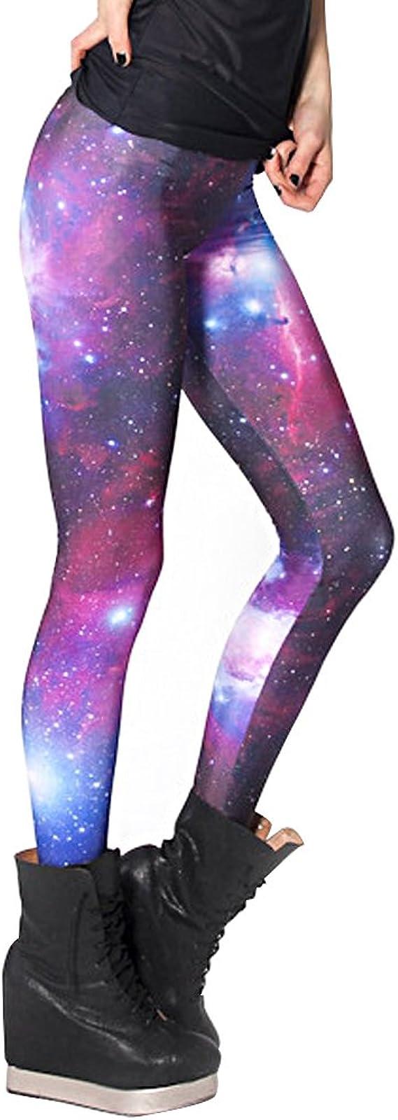 AONER Damen Galaxy Leggings Skinny Elastische Leggins Einheitsgr/ö/ße Frau Galaxie Space Patterned Weltraum Weltall Sternenhimmel Print Style Stretch