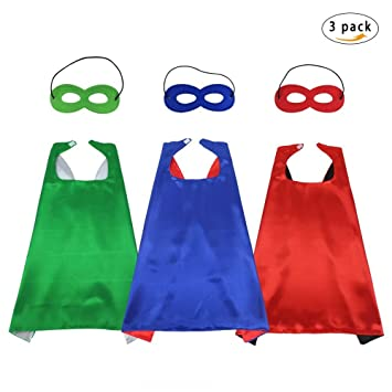 51dd922f01d Fly Childhood 70cm Kids Superhero Capes and Masks Costume Reversible Dual  Color for Boys Girls Fancy