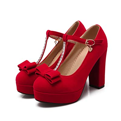 Women's Thick Heel Round Toe Bow T-spange Solid Color Fleece Pumps Shoes