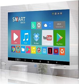 Haocrown Televisor LED Smart Mirror de 22 Pulgadas para baño IP66 Sistema Android Resistente al Agua Televisor con Pantalla táctil y Wi-Fi Incorporado: Amazon.es: Electrónica