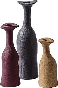 Ceramic Vase Set, Small Flower Vases for Home Decor, Decorative Vases (Set of 3)