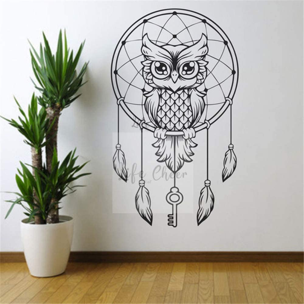 LSMYM Owl Wall Decal Dream Catcher Sticker Home Bedroom Dream Catchers Mural de pared Boho Feather Decor Vinilo amarillo 34X57cm
