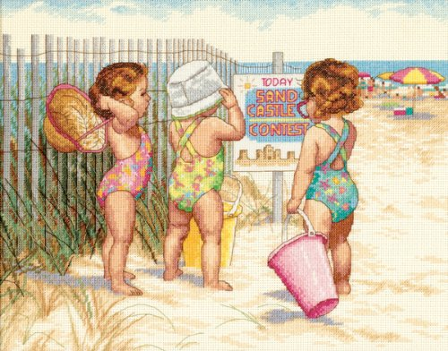 "Dimensions ""Beach Babies"" Counted Cross Stitch Kit, 14"" x 11"