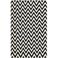Safavieh Dhurries Collection DHU557L Hand Woven Black and Ivory Premium Wool Area Rug (6 x 9)