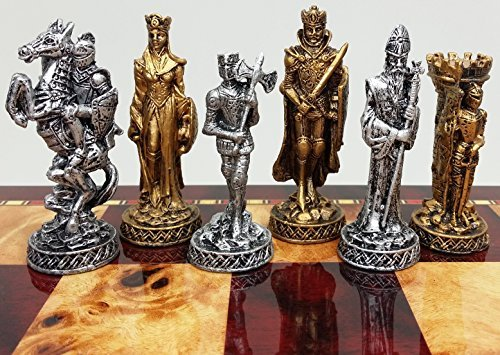 Medieval Times Crusades Knight Pewter Metal Chess Men Set Antique Gold and Silver Finish - NO BOARD