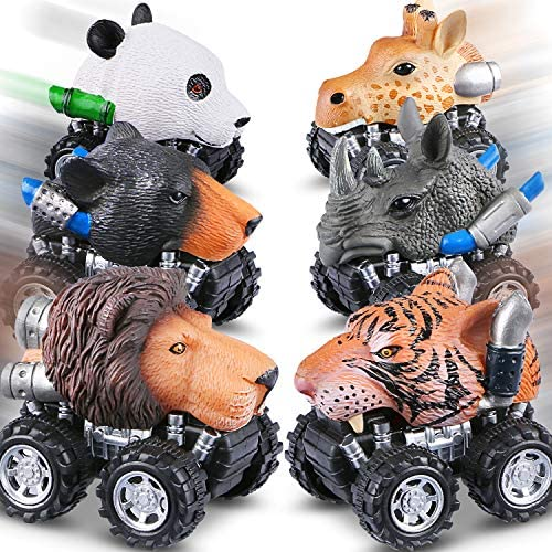 Tencoz Pull Back Cars, 6 Pack Mini Dino Cars with Stickers Animal Car Vehicles Set Toys for Boys Toddlers Girls Kids Easter Gifts