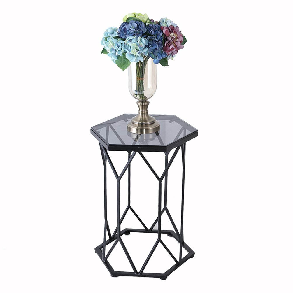CSQ 鉄のコーヒーテーブル、ガラスの大理石の小さな幾何学的なテーブル創造的な家具金属のブラケットのコーヒー表46 * 60cm コー\u200b\u200bヒーテーブル (色 : Black-#2) B07DNNFSX3 Black-#2 Black-#2