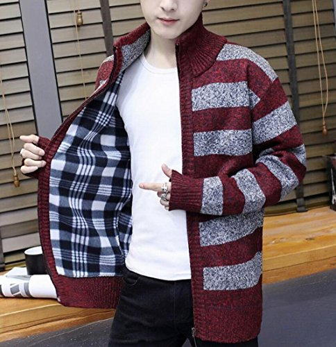 M amp;W Strip Print Full Red Wine Cardigan Zipper Winter amp;S Sweater Women's Warm Z5qZrR