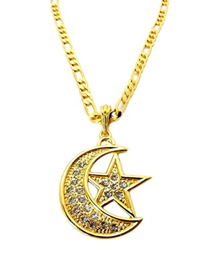 Mens hip hop muslim islam moon star crescent pendant 24 figaro mens hip hop muslim islam moon star crescent pendant 24quot figaro chain necklace gold mozeypictures Gallery