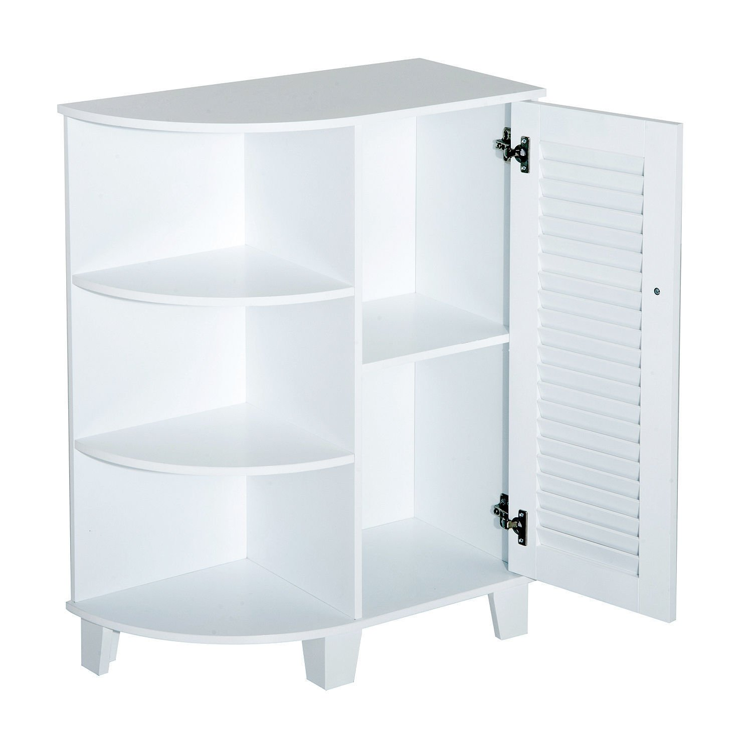 """HOMCOM 32"""" Modern Country Free Standing Bathroom Cabinet Cupboard with Rounded Shelves - White by HOMCOM (Image #3)"""