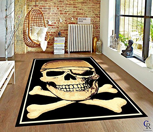CHAMPION RUGS PIRATE WITH CROSSBONES DENSITY MODERN AREA RUG