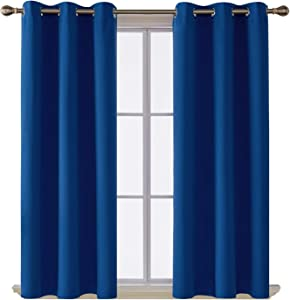 Deconovo Room Darkening Thermal Insulated Blackout Grommet Window Curtain Panel for Living Room, Royal Blue,42x63-inch,1 Panel