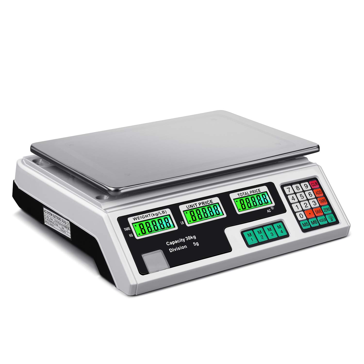 Flexzion Digital Scale Electronic Price Computing Rechargeable Battery Scale 66lb, Commercial Deli Food Produce Counting Fruit Meat Weighing, Farmers Markets, Post Office by Flexzion