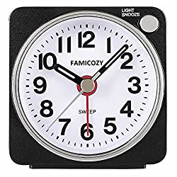 Small Lightweight Travel Alarm Clock,FAMICOZY Silent Non Ticking Analog Alarm Clock with Snooze and Light,Sound Crescendo,Mini Quartz Alarm Clock,Battery Operated(Black)