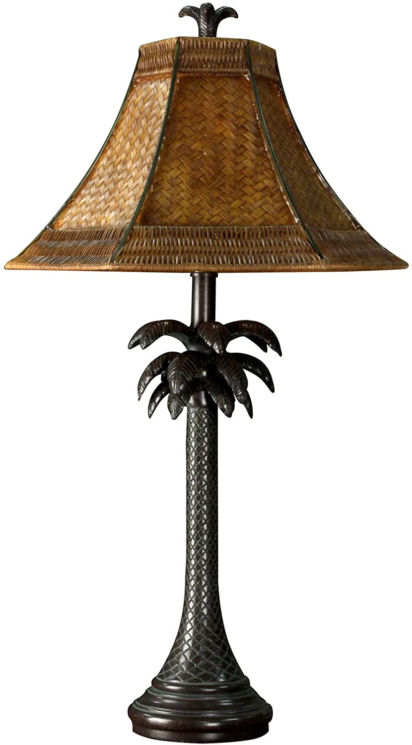 Collective Design 720354122639 Tropical Palm Tree Steel Table Lamp, Dark Brown Finish with Woven Rattan Shade