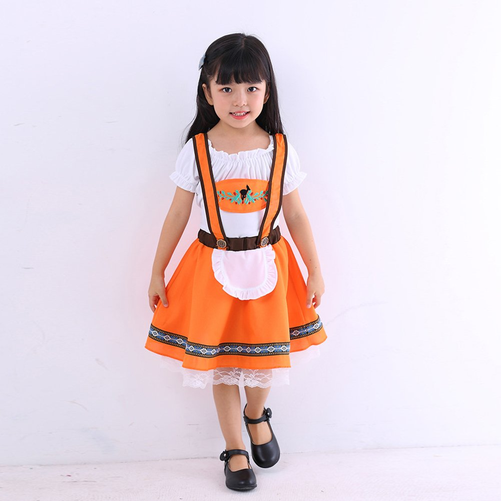 5b1806419 Kids Oktoberfest Costume Girls German Dirndl Dresses Boys Bavarian  Lederhosen Traditional Outfits Beer Festival Shorts + Shirt + Hat Halloween  Cosplay Apron ...