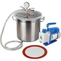Vinmax 5 Gallon Stainless Steel Vacuum Degassing Chamber Silicone Kit with 3 CFM Pump Hose