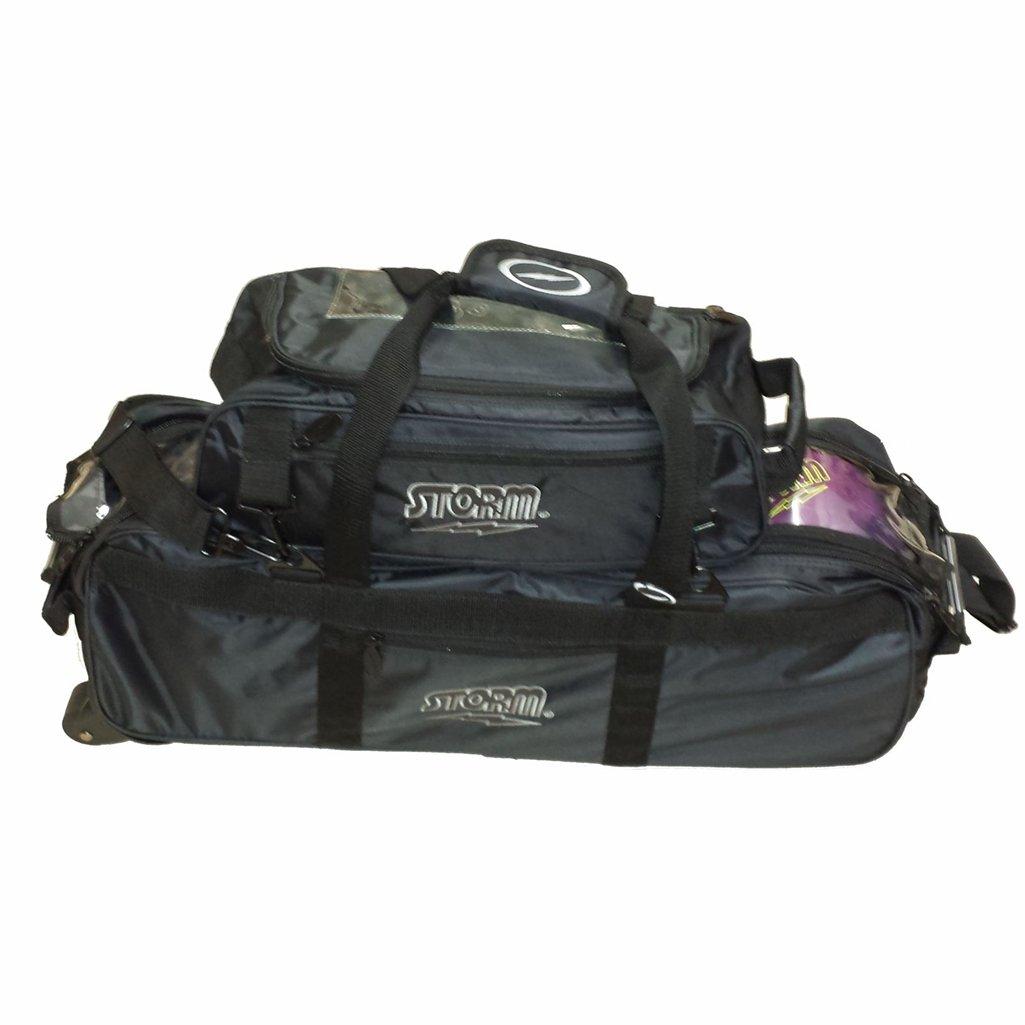 Storm Tournament 3 Ball Tote Roller Bowling Bag- Black ()