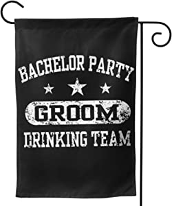XIOJEIEYBachelor Party Groom Drinking Team Garden Flag, Vertical Double Sided Garden Outdoor House Yard Decorations Flags