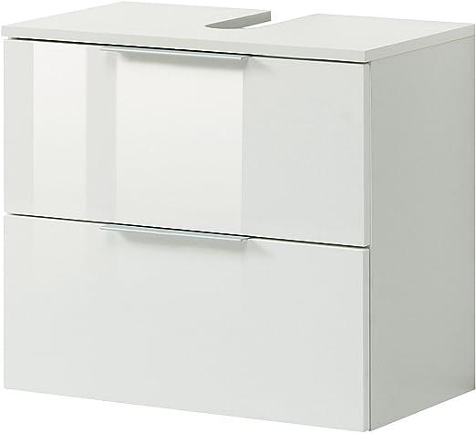 Bad Waschbeckenunterschrank Wandschrank Unterschrank Hochglanz weiß Holz NEU