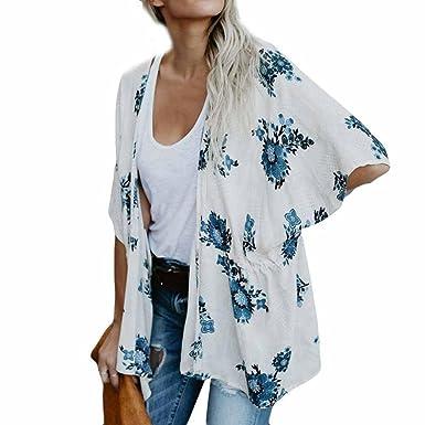 2f9ab921575 Sixcup Women s Sheer Chiffon Blouse Loose Tops Loose Shawl Kimono Floral  Print Boho Medium Cardigan Tops