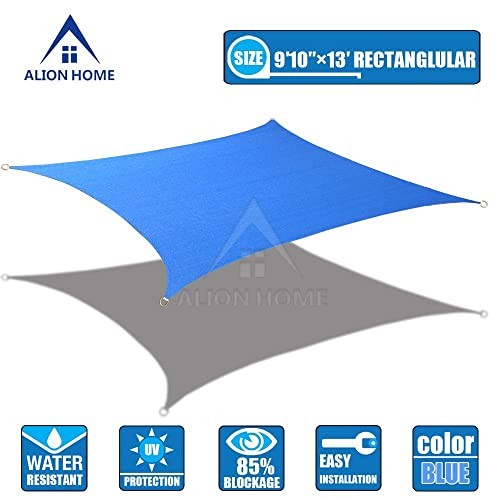 Alion Home HDPE Sun Shade Sail - Blue 9 10 x 13 Rectangle