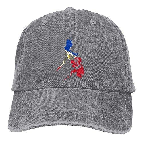 Philippines Flag Map Denim Hat Adjustable Mens Plain Baseball Hat AshOne Size