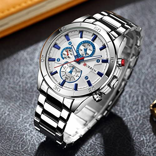 Amazon Com Curren Watch Men 8275 Relojes De Pulsera De Lujo Reloj De Cuarzo Moda Casual Blanco Plateado Watches