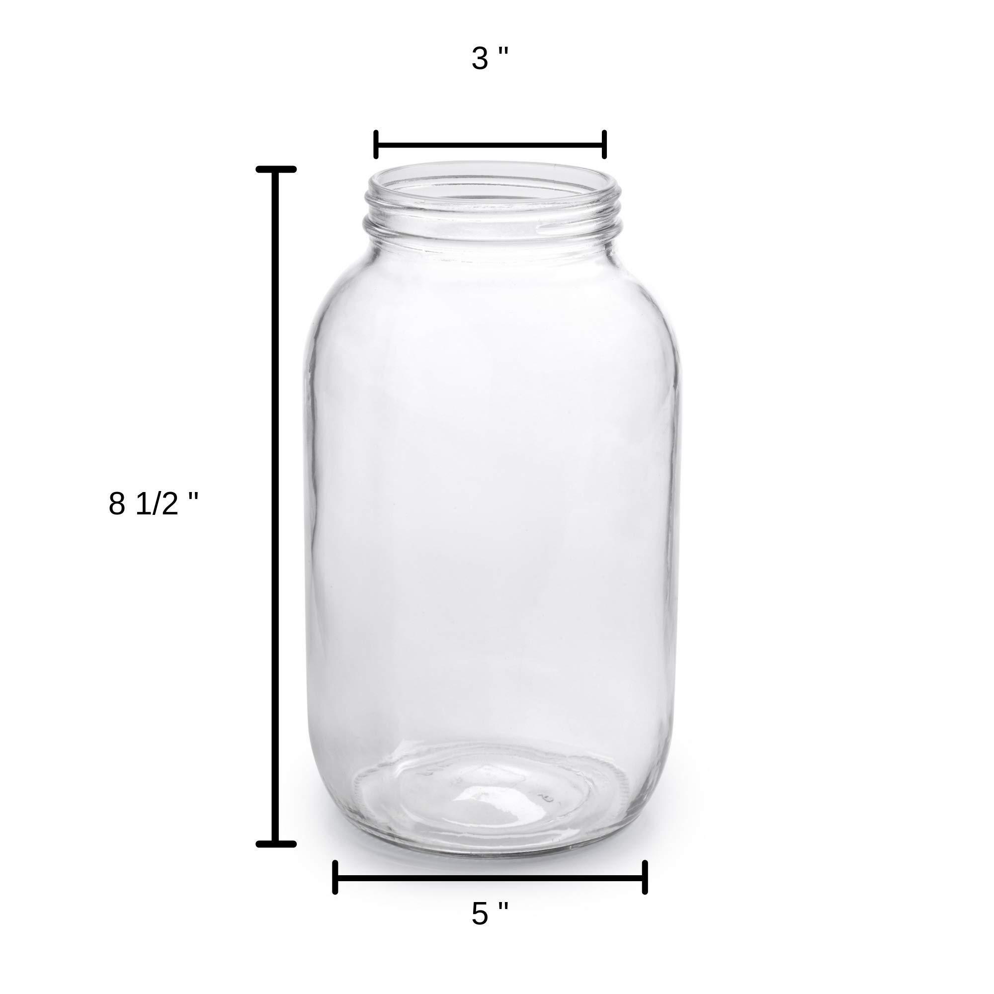 1790 Half Gallon Glass Jars (64oz) 2-Pack - Includes 2 Airtight Lids, Muslin Cloths, Rubber Bands - BPA Free, Dishwasher & Freezer Safe - Perfect for Kombucha, Kefir, Canning, Sun Tea, Fermentation by 1790 (Image #3)