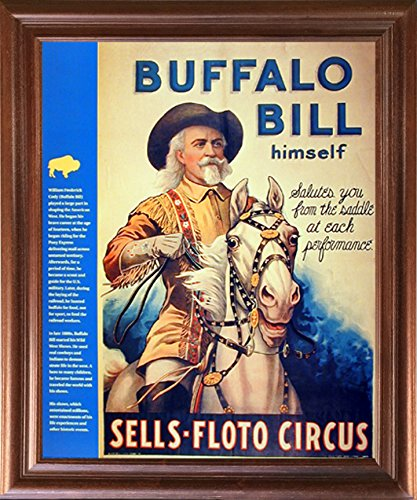 (Impact Posters Gallery Wild West Show Buffalo Bill Western Cowboy Wall Mahogany Framed Picture Art Print)