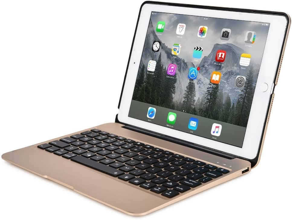 """Aluminum Keyboard Case F07 with 7 Colors Backlight Wireless Bluetooth Keyboard & Power Bank Compatible with iPad Pro 12.9"""" (Rose Gold)"""