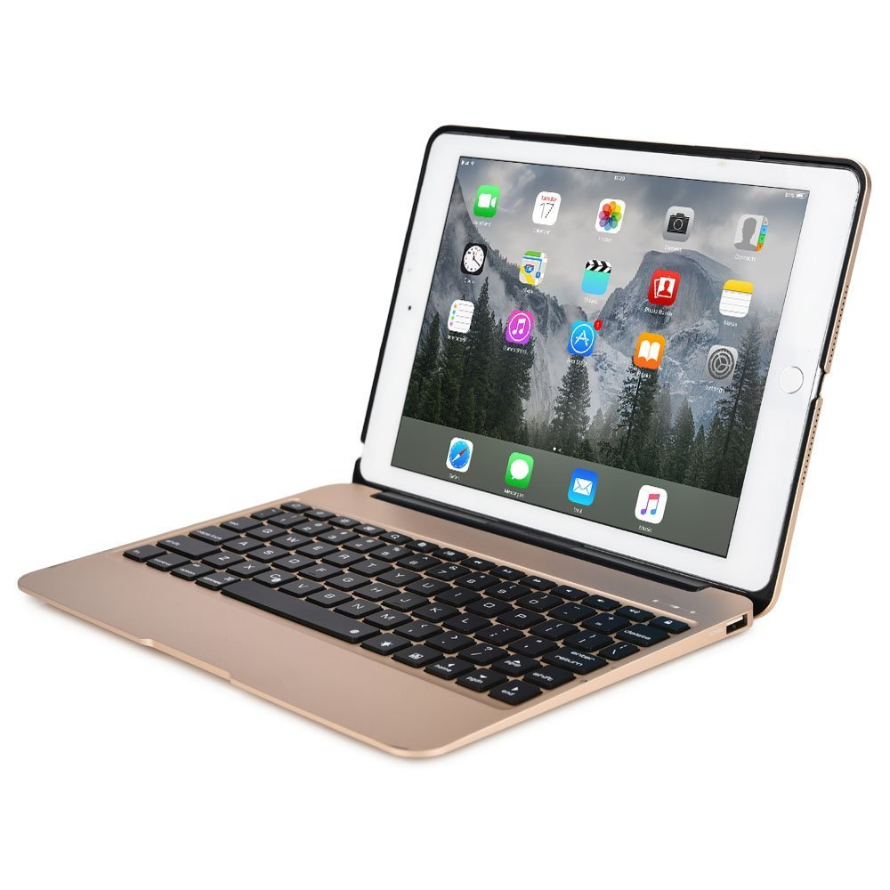 iPad Pro 12.9'' Aluminum Keyboard Case F07 with 7 Colors Backlight Backlit Wireless Bluetooth Keyboard & Power Bank (Rose gold) by myBitti