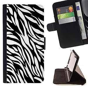 - White Black Zebra Fur Print - Estilo PU billetera de cuero del soporte del tir???¡¯????n [solapa de cierre] Cubierta- For Samsung Galaxy S4 Mini i9190 £¨ Devil Case £©