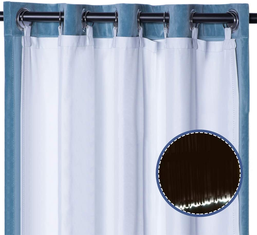 Rose Home Fashion Thermal Insulated Blackout Curtain Liner Panel-Ring Included- Curtain Liner 100% Darkening,Blackout Liner for 96 Inch Curtains (White, 27x92 2pieces)