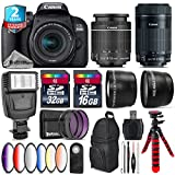 Canon EOS Rebel 800D/T7i Camera + 18-55mm IS STM Lens + Canon 55-250mm IS STM Lens + 6PC Graduated Color Filter Set + 2yr Extended Warranty + 32GB Class 10 Memory Card - International Version