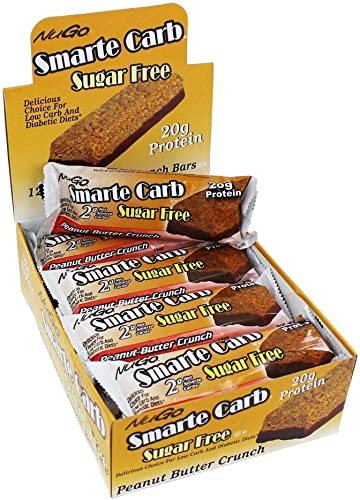 NuGo Nutrition Smarte Carb Bar, Peanut Butter Crunch, 12 Bars, 1.76 oz 50 g Each