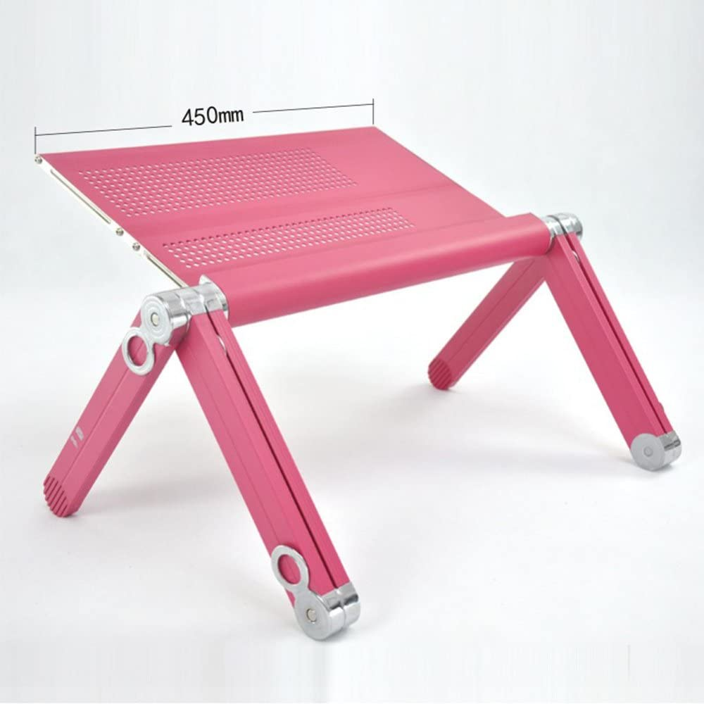BETTY Tables Portable Laptop Desk Foldable Lifting Laptop Desk Sofa Table Stand Bookshelf with Mouse Board Tray Color : Pink, Size : 45cm