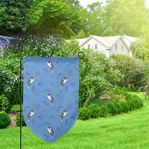Suniy Garden Outdoor Flag Banner Agility Border Collies Blue Decorative Weather Resistant Double Stitched 18x12.5 Inch