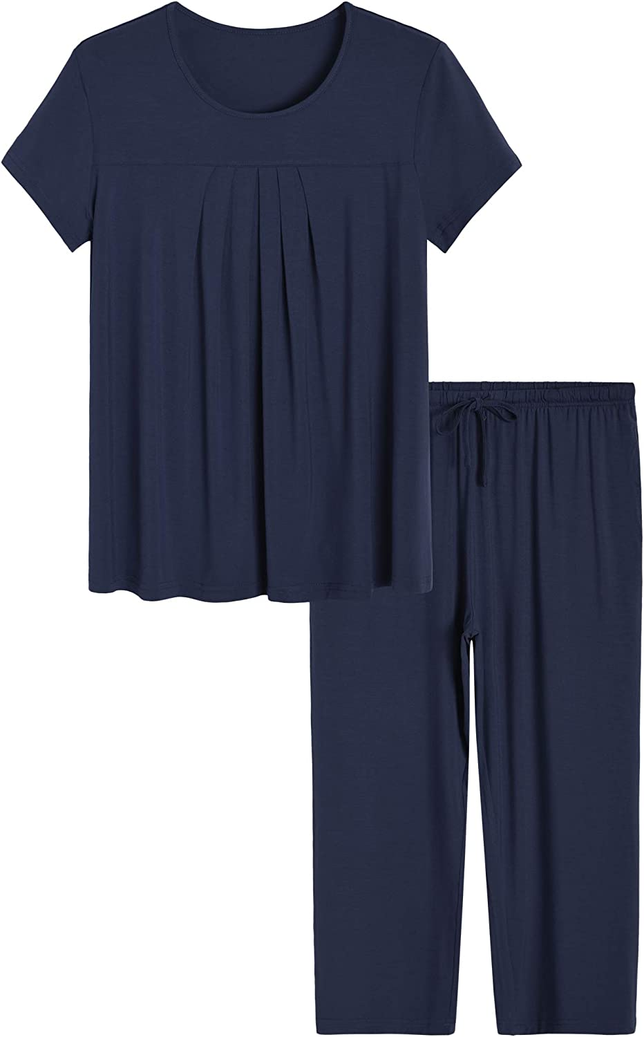 Latuza Women/'s Pleated Loungewear Top and Capris Pajamas Set