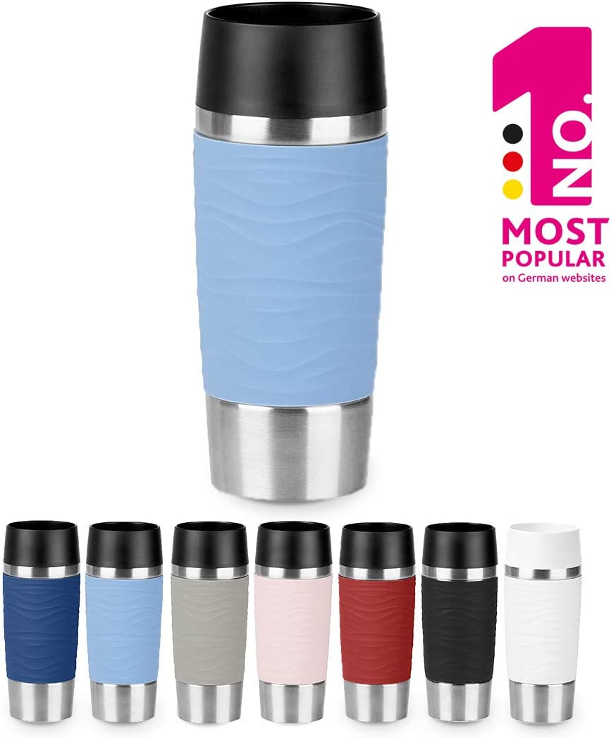 Emsa N2010900 Travel Mug, Wave Design Vacuum Mug, Stainless Steel Case (18/10), Stainless steel (18/10) Plastic (PP) Silicone, Stainless steel/powder blue, 360ml
