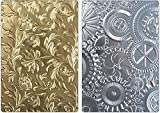 Tim Holtz Sizzix 3D Texture Fades Embossing Folders - Botanical and Mechanics - 2 item bundle