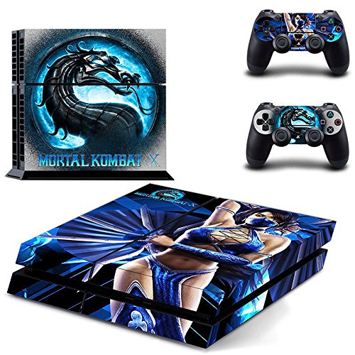 [MightySticker® PS4 Designer Skin Game Console System + 2 Controller Decal Vinyl Protective Covers Stickers f Sony PlayStation 4 - Mortal Kombat X Sexy Lady Kitana Dual Fan Killing Blue Dragon Logo] (Kitana Mk)