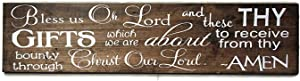 Jerome George New Sign Bless us Oh Lord Wood Sign, Farmhouse Kitchen Decor, Dining Room Wooden Sign, Christian Blessing, Bless The Food Before us, Bible Prayer
