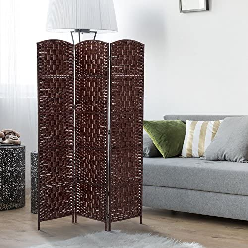 HOMCOM 6 Tall Wicker Weave 3 Panel Room Divider Privacy Screen
