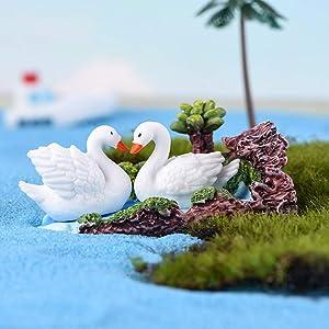3 Pieces Miniature Fairy Garden Ornaments Kit, Pure White Swan in Blue Pond, Fairy Garden Animals Swan for Micro Landscape Plant Pots/Bonsai/Home Decoration