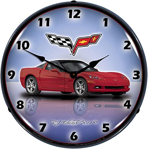 Collectable Sign and Clock GMRE1112345 Crystal Red 14 Corvette C6 Lighted Clock