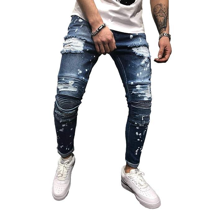 BMEIG Jeans Ajustados Hombre Slim Fit Rotos Pantalones de ...
